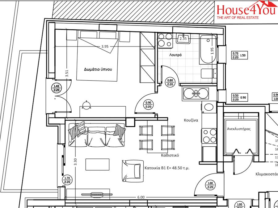 Πωλείται υπο κατασκευή δυάρι διαμέρισμα 48.5 τμ. υψηλών προδιαγραφών 2ου ορόφου στο κέντρο των Ιωαννίνων με πάρκινγκ