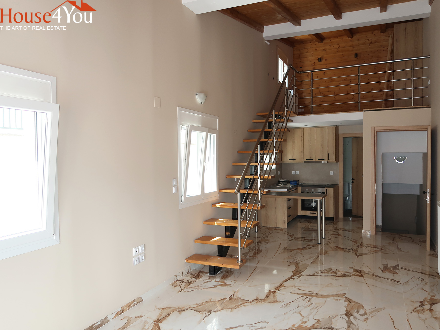 For rent new two-room apartment 68 sq.m. with attic of 2021 in Kaloutsiani Ioannina